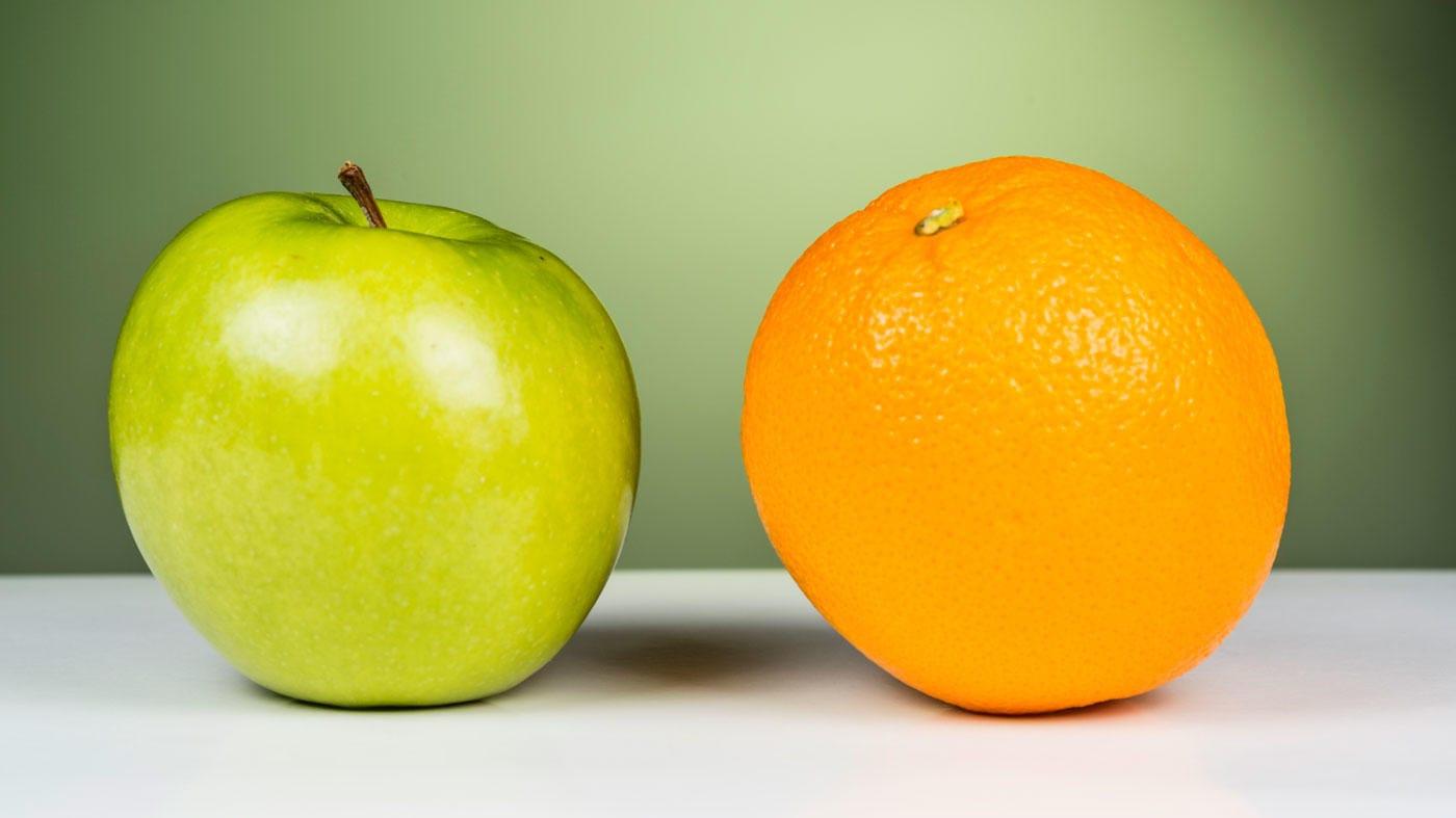 можно просто яблоко и апельсин в одной картинке фбр, которые